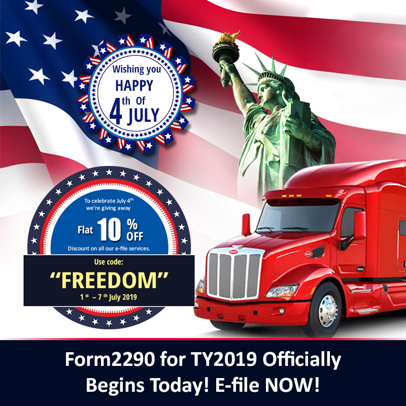 Form2290 efile 4thJuly Discount Coupon